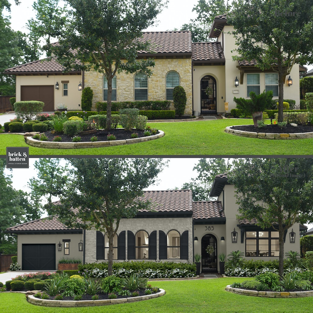 Spanish-influenced home with light gray natural stone, gray stucco, and black shutters
