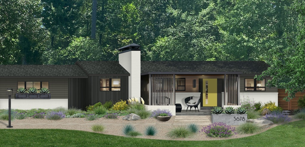 black ranch home with white chimney accent and bright door