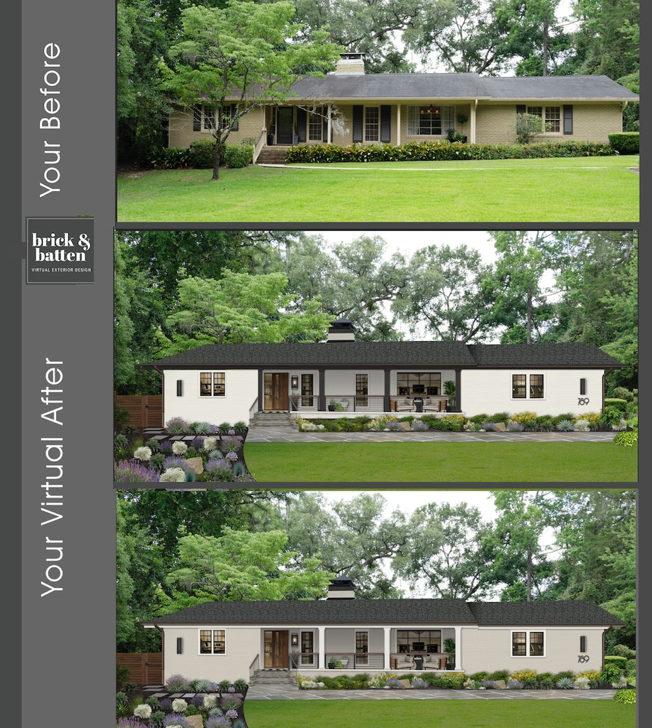 A Before and After of a modern ranch-style home with a large grassy front yard. With two after options, the exterior virtual renovation has two after options: One features Sherwin Williams Alabaster on the exterior and Benjamin Moore Black Beauty on the trim. In the second example, Benjamin Moore Revere Pewter is the exterior color with Benjamin Moore Black Beauty as the trim color.