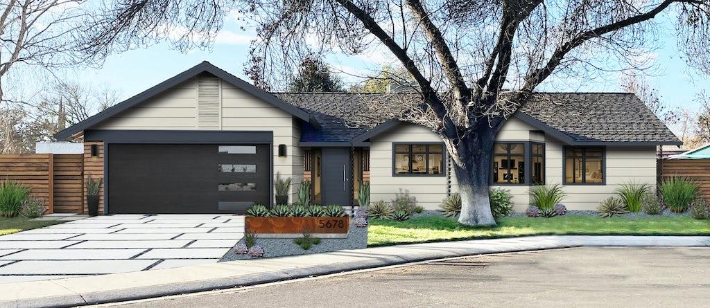 ranch home with grayish white siding and dark navy garage