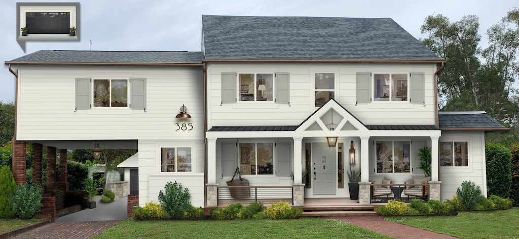 white traditional home with gray shutters