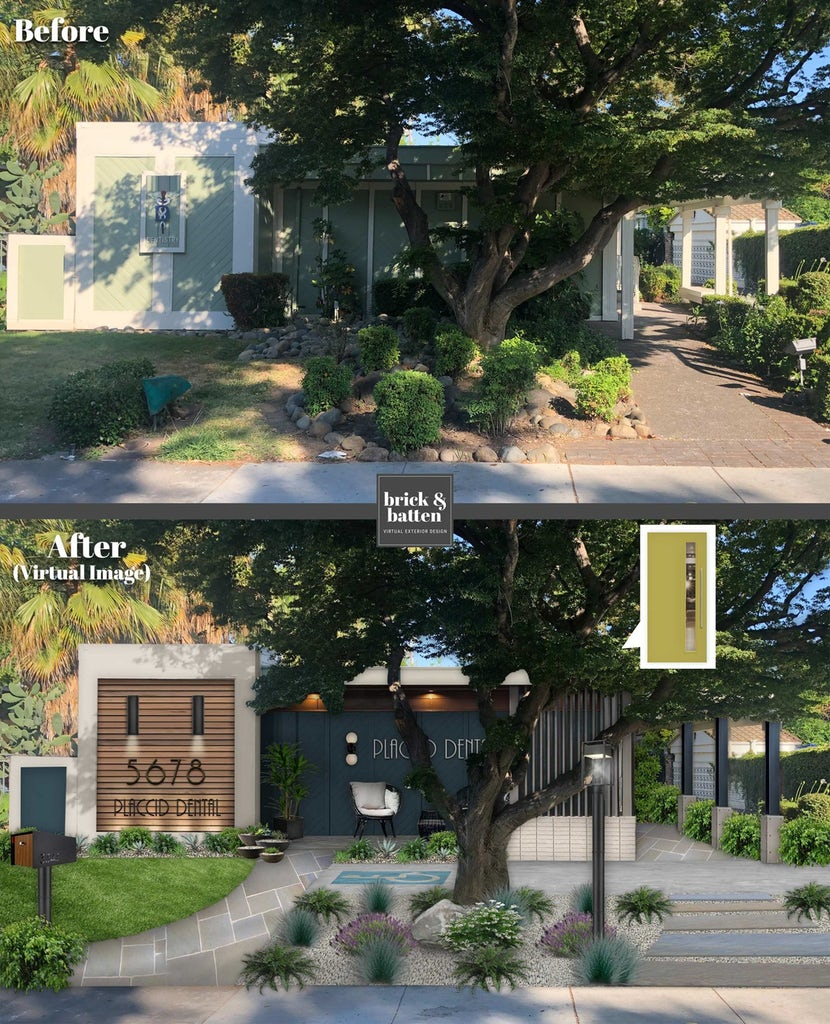 Before and after of a dentist's office with a modern exterior design refresh