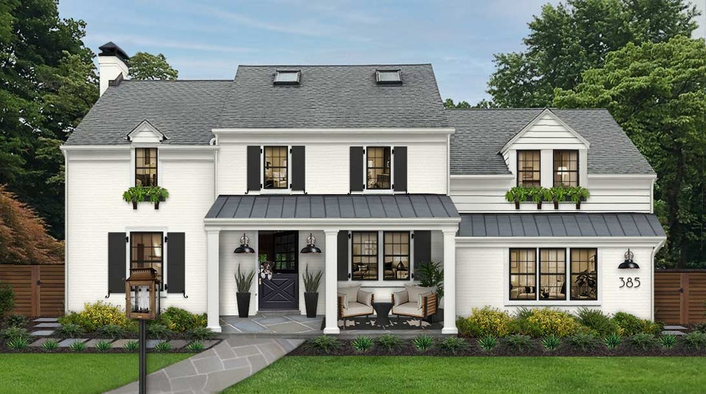 Virtual rendering of a traditional white home with window boxes on the upper level