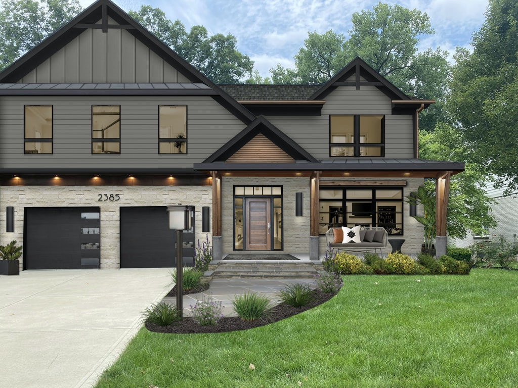 Virtual exterior design of a home with James Hardie siding in Aged Pewter along with stone, wood, and black accents