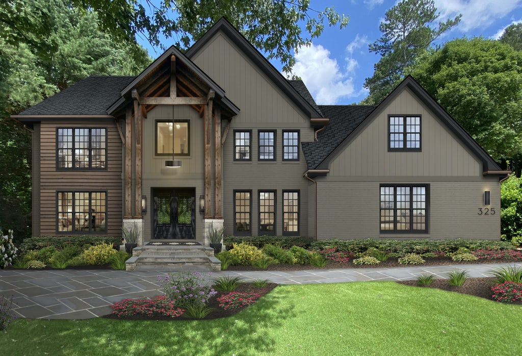 Virtual exterior design of a transitional Craftsman-style home painted in Deep Creek with wood accents