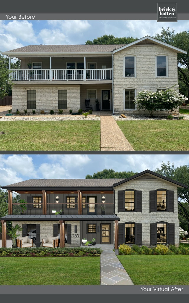 light gray brick home with bronze siding accents and black shutters