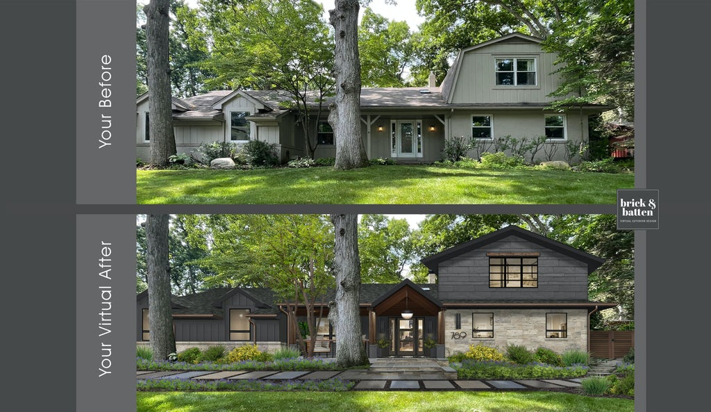 before and after two story barn style home with dark gray and black accents