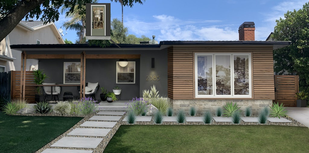 modern ranch in wood and iron mountain black paint