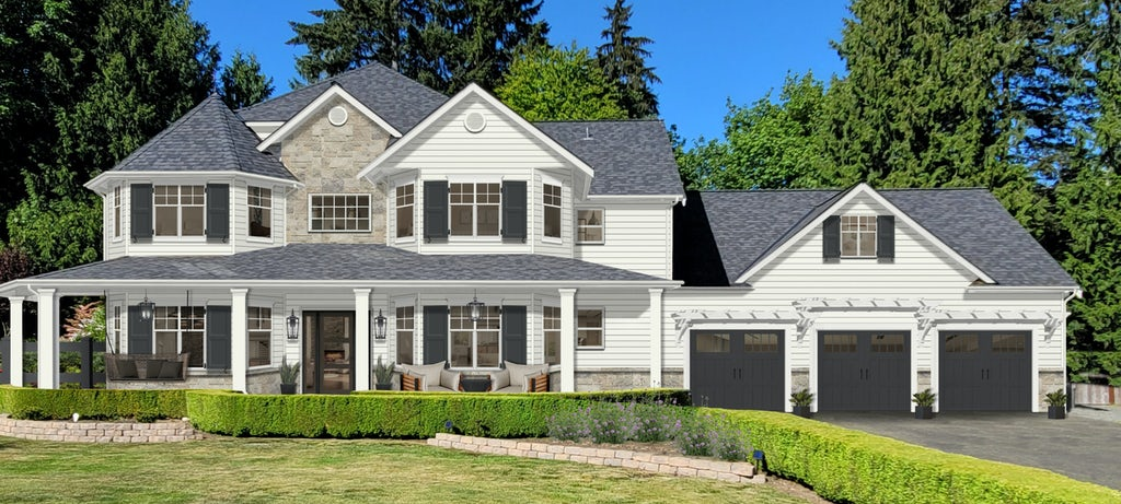 large home with white siding, natural stone, and black shutters