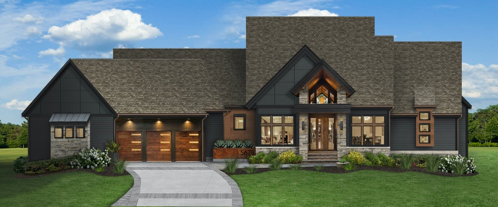 transitional mountain home in black panther with stone and wood accents