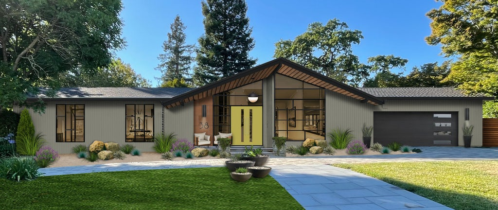 Virtual exterior rendering of a mid-century modern home painted in Desert Twilight with black accents