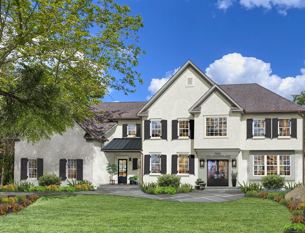 traditional home with white stucco and black shutters