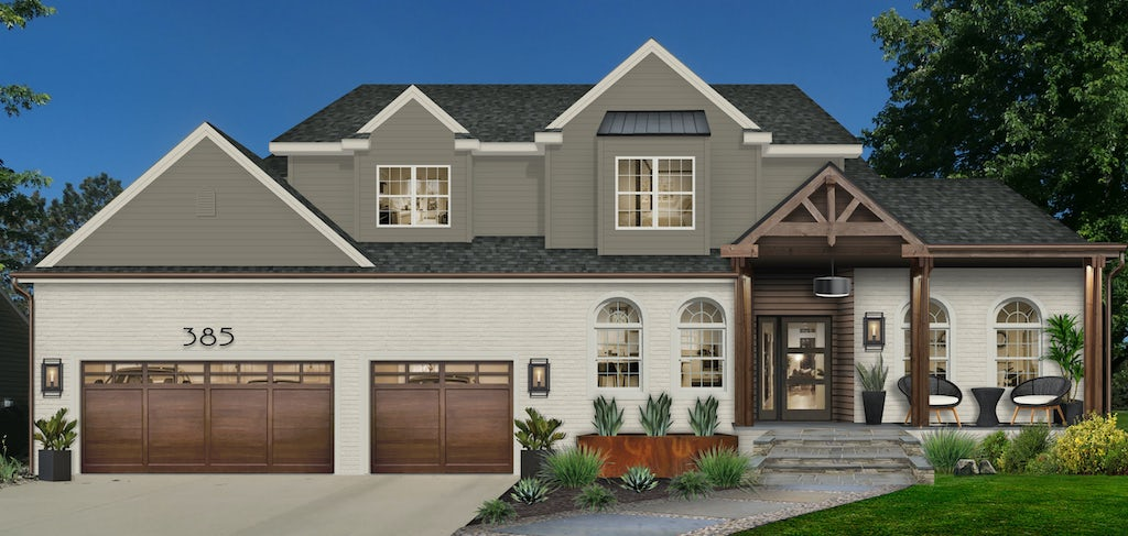 Virtual exterior design of a home painted in Sherwin Williams' Anonymous paired with Revere Pewter