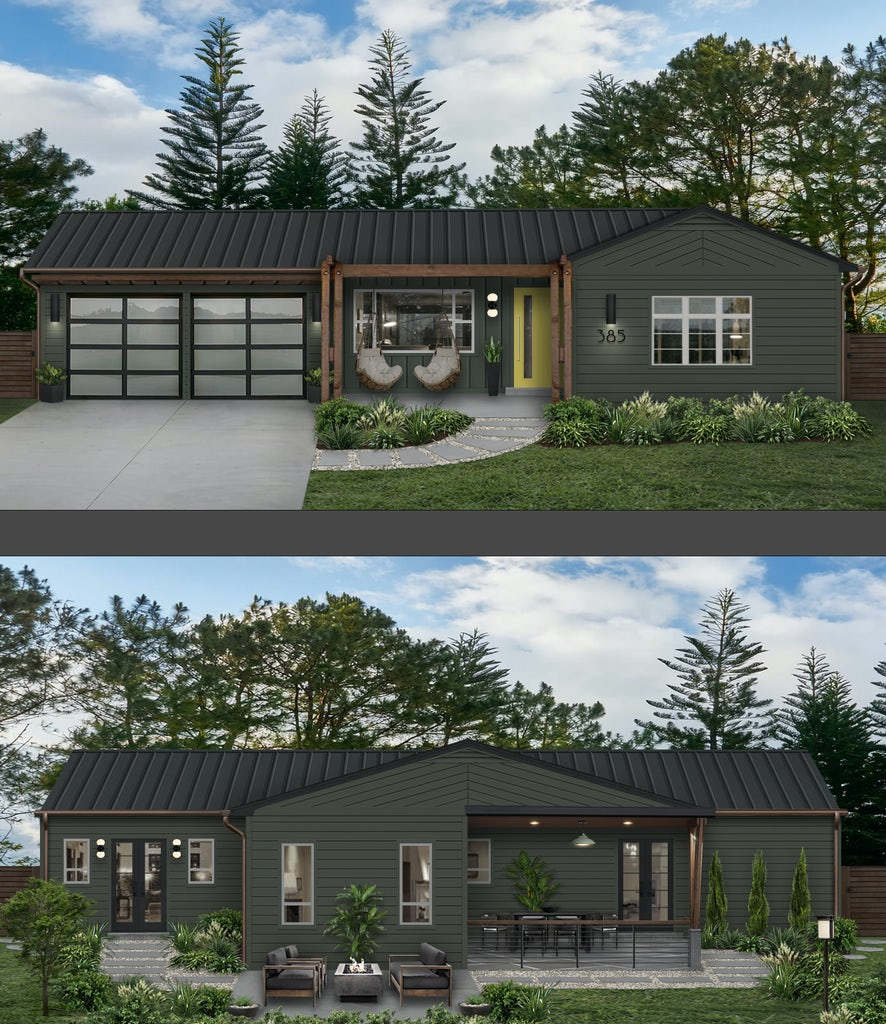 front and back virtual design of a ranch home painted in deep river dark gray