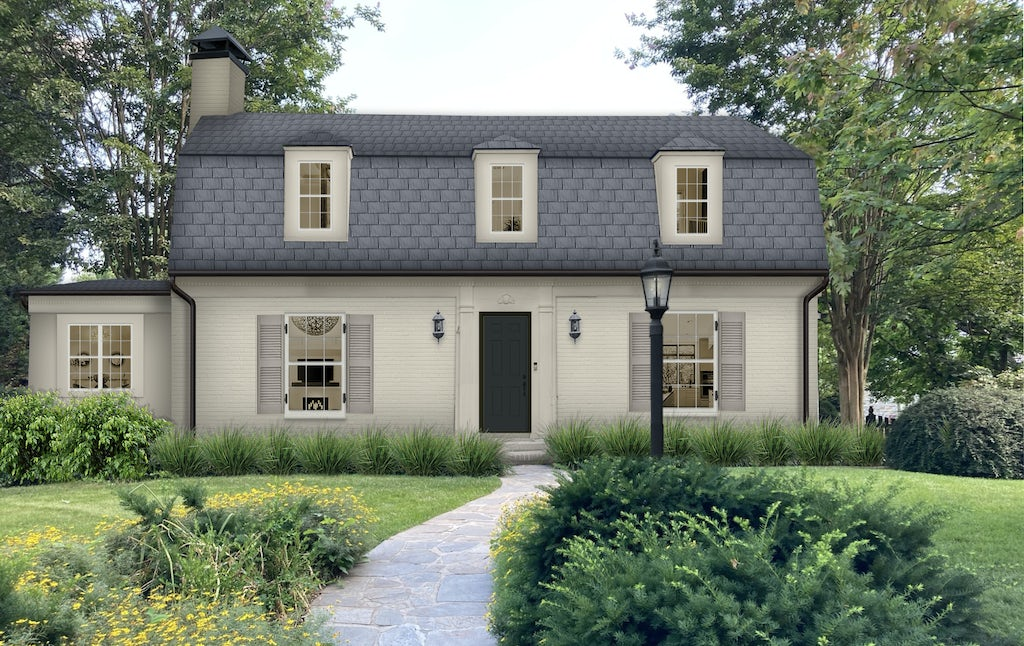 light gray bungalow with shutters