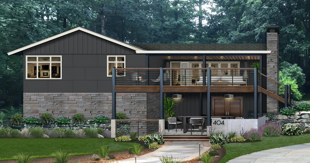 dark gray two-level home with iron columns and a balcony