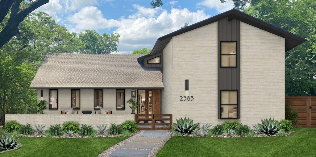 large greige brick home with dark trim