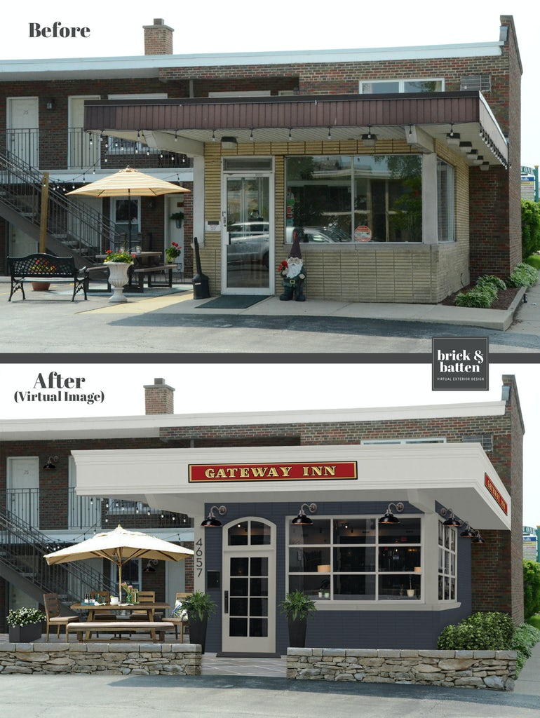 Before and after of the entrance to an inn
