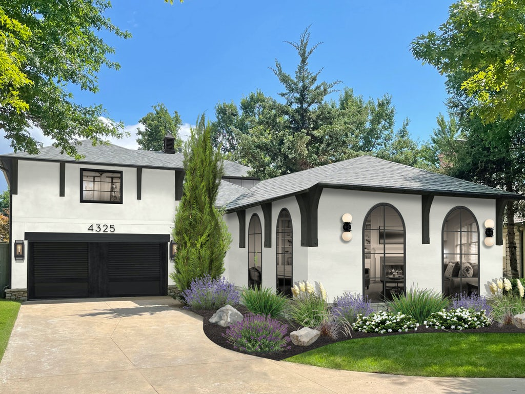 Virtual exterior design rendering of a home painted in White Dove with black accents