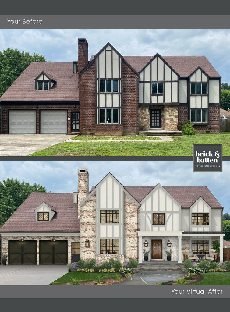 large tudor style home before and after with limewash brick painted off white