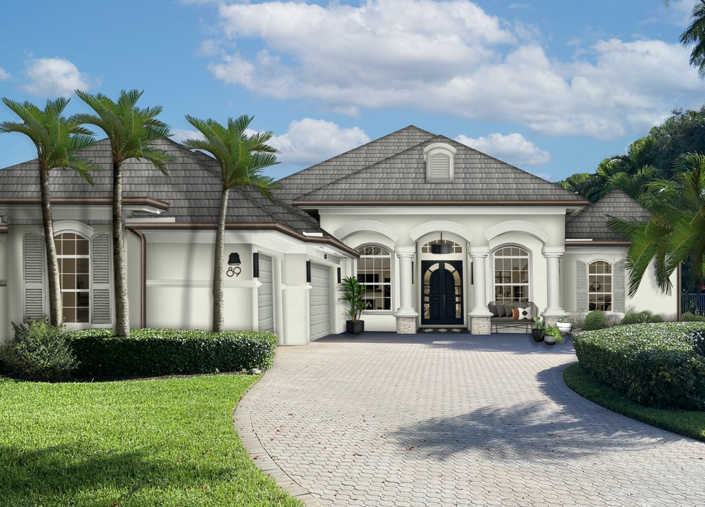 Virtual exterior design of a home rendered in Seapearl