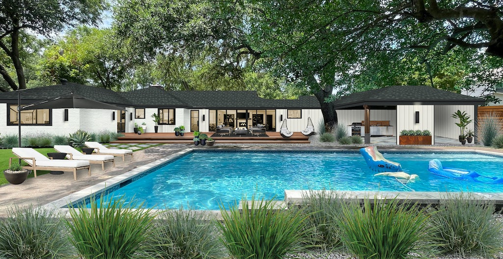 backyard pool area of a modern ranch with a Corten steel planter as an accent piece