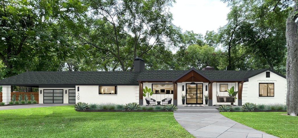 Virtual rendering of a ranch home with wood columns on the front porch, no railings