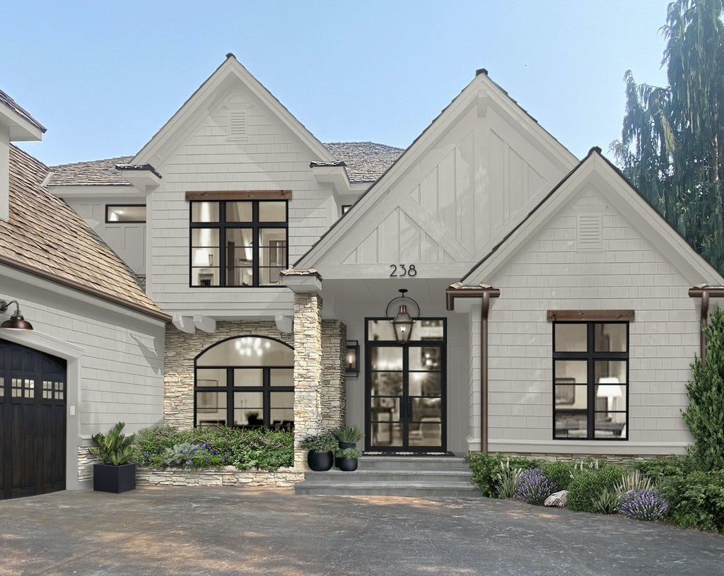 Virtual exterior design of a home rendered in Olympic Mountains