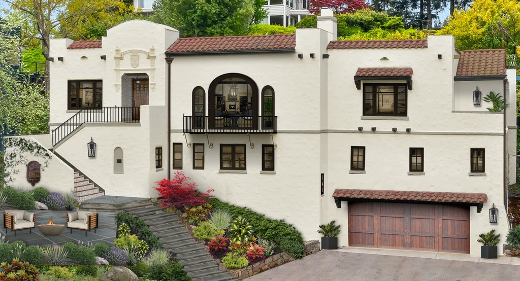 Virtual rendering of a Spanish Mediterranean stucco home with vertical railings