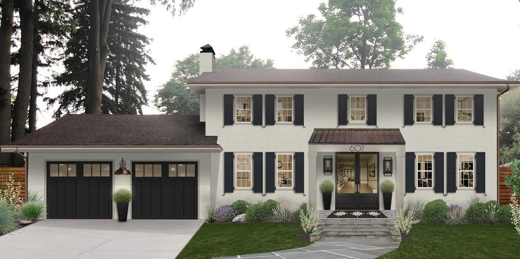 modern light gray brick home with black shutters