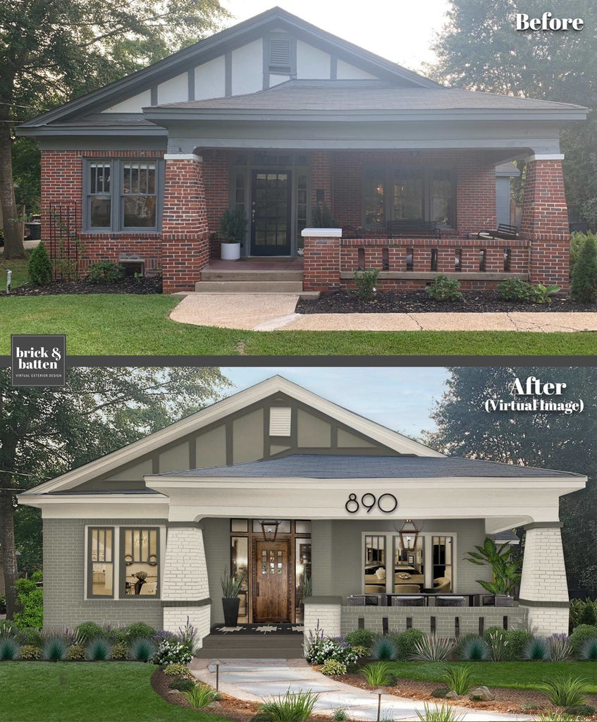 Before and after of a brick bungalow painted in earthy green and off-white tones