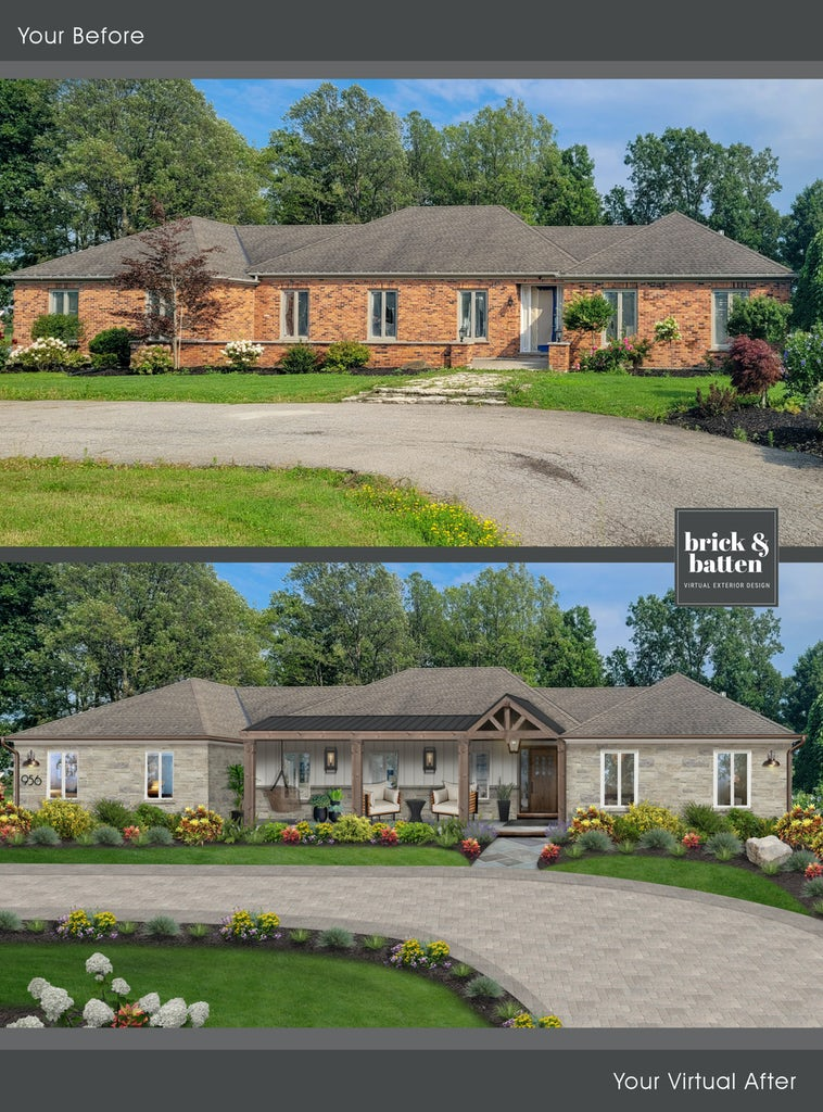 cultured stone home with wooden accents and driveway pavers