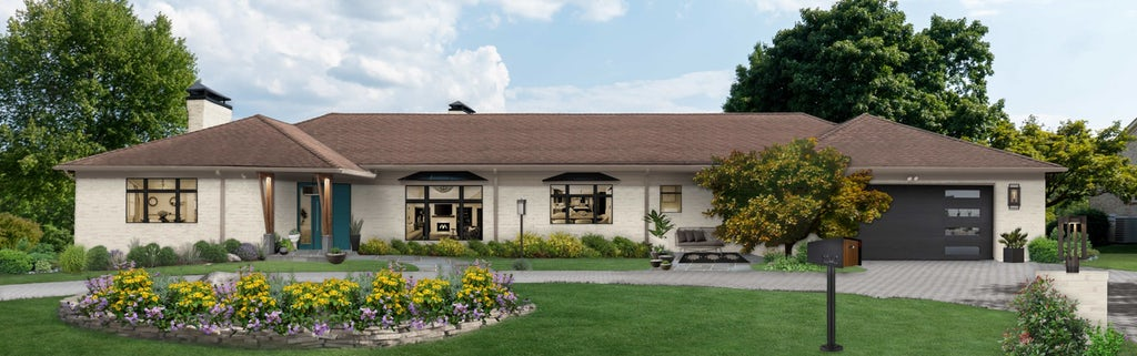 Virtual rendering of a white sprawling ranch home