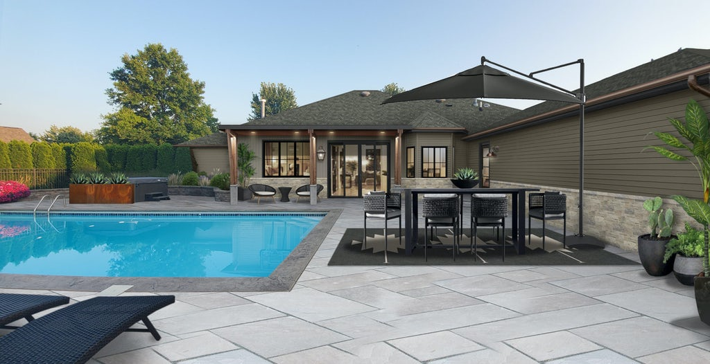 backyard pool and patio area with a Corten steel planter