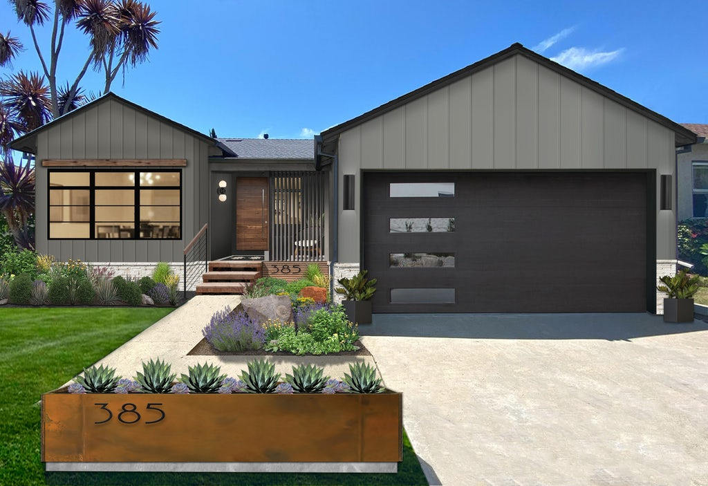 modern gray home with rust-colored steel planter at the front of the walkway
