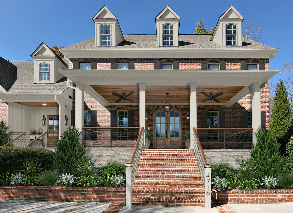 Virtual rendering of a traditional brick home with modern front porch railings