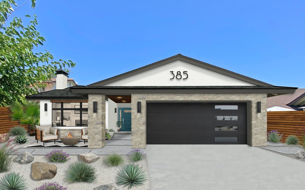 Virtual exterior design of a home with White Dove accents