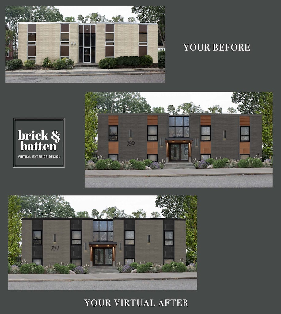 Before and after of an office building with a refreshed exterior design