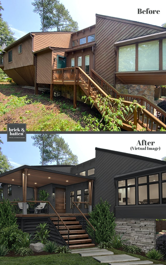 Before and after of a home rendered with a new coat of paint: Iron Ore