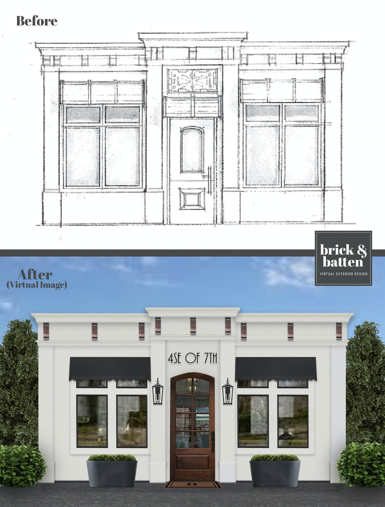 Before and after of a restaurant blueprint rendered in off-white