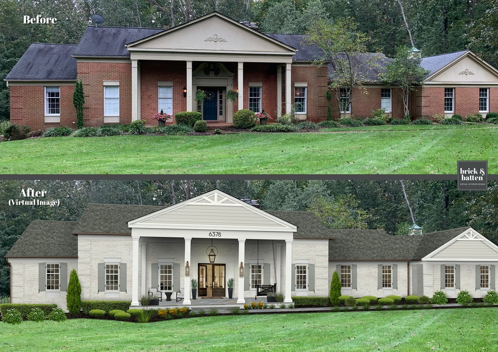 Before & after of a brick home rendered with a new coat of off-white paint