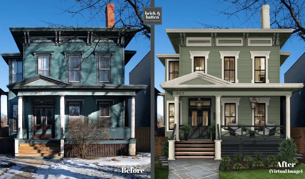 updated modern victorian house in chicago with sage green paint, white window trim and black window grilles and large porch