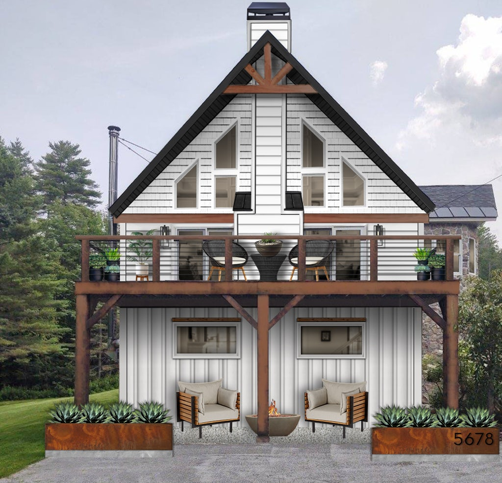 small colonial home with symmetrical windows, furniture, and Corten steel planters