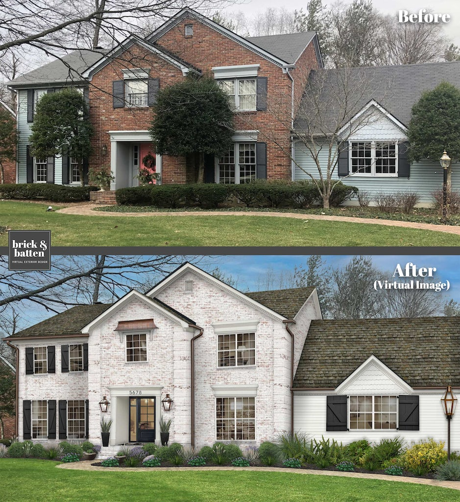two story traditional limewash brick home before and after