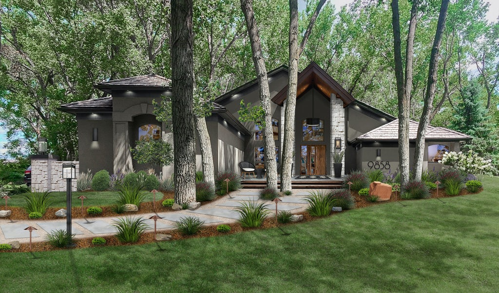 Virtual exterior rendering of a home with a gorgeous walkway that breaks around birch trees