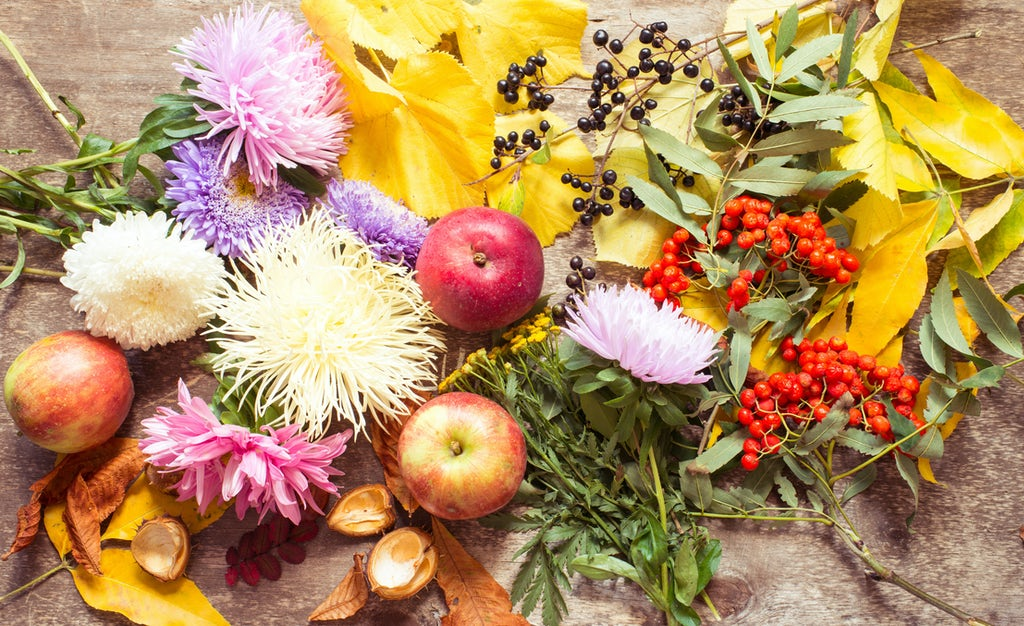 Fall fruit and other elements for flower boxes